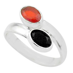 Clearance Sale- Silver 2.15cts halloween natural onyx cornelian adjustable ring size 7 t57759
