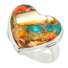 Silver heart spiny oyster arizona turquoise solitaire ring size 6.5 r34539