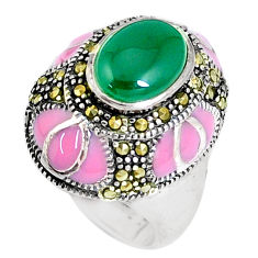 925 silver 4.45cts natural green chalcedony marcasite ring size 7.5 c16037
