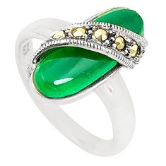 925 silver natural green chalcedony marcasite ring jewelry size 8.5 c17447