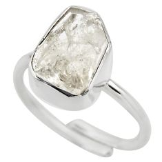Silver natural herkimer diamond adjustable solitaire ring size 7.5 r29698