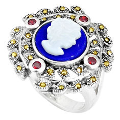 925 silver natural blue lapis lazuli pearl enamel lady face ring size 7.5 c16056