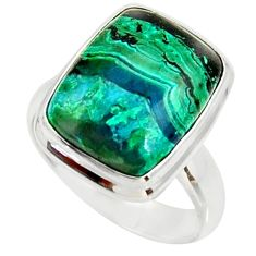 Silver 8.48cts natural malachite in chrysocolla solitaire ring size 7 r34564