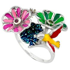 925 silver natural peridot kunzite (lab) flower with bird ring size 9 c16768