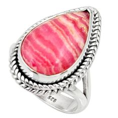 Silver 10.33cts natural rhodochrosite inca rose solitaire ring size 6.5 r28013