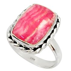 Silver 9.39cts natural rhodochrosite inca rose solitaire ring size 8.5 r28017