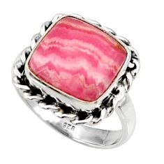 Silver 6.30cts natural rhodochrosite inca rose solitaire ring size 7.5 r28020