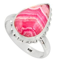 Silver 7.53cts natural rhodochrosite inca rose solitaire ring size 8 r28011