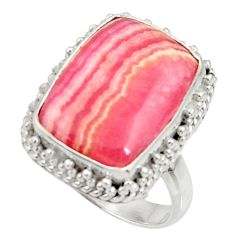 Silver 11.93cts natural rhodochrosite inca rose solitaire ring size 8 r28015