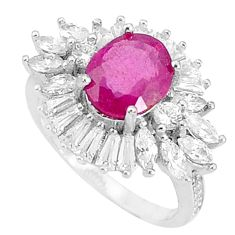 925 silver 6.31cts natural red ruby white topaz solitaire ring size 6.5 c17684