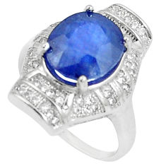 925 silver 6.84cts natural blue sapphire white topaz round ring size 5.5 c17918