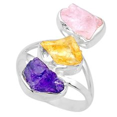 Silver 12.06cts raw amethyst citrine herkimer diamond raw ring size 8 r73723