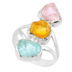 Silver 12.06cts raw citrine aquamarine rose quartz raw ring size 8 r73756