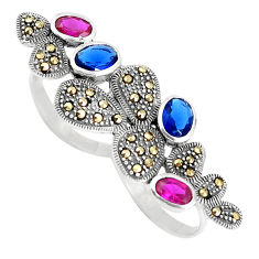 925 silver blue sapphire (lab) ruby (lab) two finger couple ring size 7.5 c16001