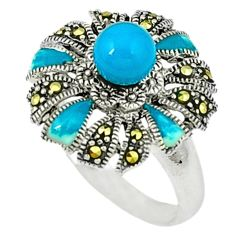 925 silver blue sleeping beauty turquoise marcasite enamel ring size 8.5 c18633
