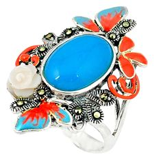925 silver blue sleeping beauty turquoise marcasite enamel ring size 7.5 c18579