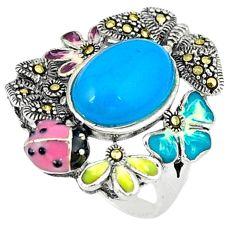 925 silver blue sleeping beauty turquoise marcasite enamel ring size 6.5 c18544