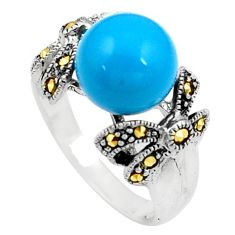925 silver blue sleeping beauty turquoise marcasite solitaire ring size 8 c17321