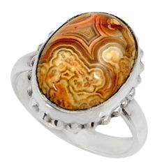 Silver solitaire 10.23cts natural mexican laguna lace agate ring size 8.5 r28314