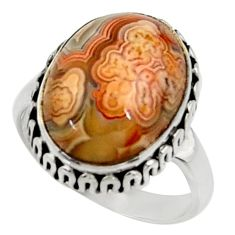 Silver solitaire 11.15cts natural mexican laguna lace agate ring size 7.5 r28319
