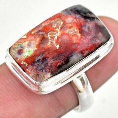 Silver 17.22cts solitaire natural mexican laguna lace agate ring size 7 t46906