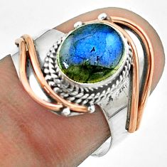 Silver 3.07cts victorian natural labradorite rose two tone ring size 8 t57235