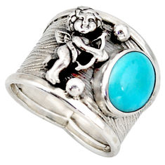 4.71cts sleeping beauty turquoise 925 silver angel solitaire ring size 7 d45887