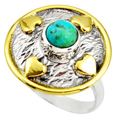 1.26cts sleeping beauty turquoise 925 silver gold solitaire ring size 9 r37289