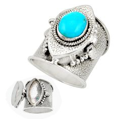 4.28cts sleeping beauty turquoise 925 silver poison box ring size 7.5 r26636