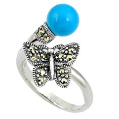 Sleeping beauty turquoise butterfly 925 silver adjustable ring size 8 c17473