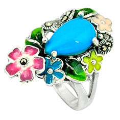 Blue sleeping beauty turquoise enamel 925 silver flower ring size 5.5 c18535