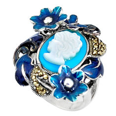 Blue sleeping beauty turquoise lady face 925 silver flower ring size 6.5 c16234