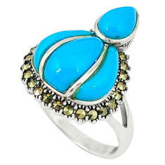 5.75cts blue sleeping beauty turquoise marcasite 925 silver ring size 6 c18735