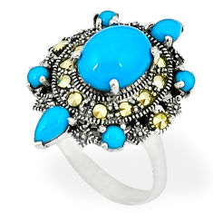 5.27cts blue sleeping beauty turquoise marcasite 925 silver ring size 6 c18540