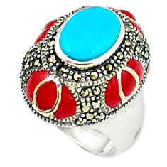 Blue sleeping beauty turquoise marcasite enamel 925 silver ring size 8.5 c18644