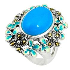 Blue sleeping beauty turquoise marcasite enamel 925 silver ring size 6.5 c16030