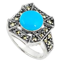 Blue sleeping beauty turquoise marcasite round 925 silver ring size 6 c17313