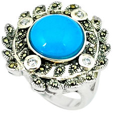 6.42cts blue sleeping beauty turquoise marcasite 925 silver ring size 6.5 c18557