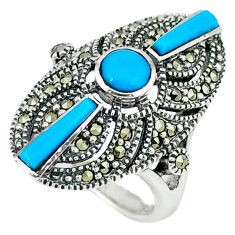 3.73cts blue sleeping beauty turquoise marcasite 925 silver ring size 5.5 c18725