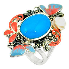 6.73cts blue sleeping beauty turquoise marcasite 925 silver ring size 5.5 c18562