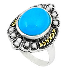 4.59cts blue sleeping beauty turquoise marcasite 925 silver ring size 7.5 c18722