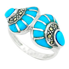 5.14cts blue sleeping beauty turquoise marcasite 925 silver ring size 7.5 c18670