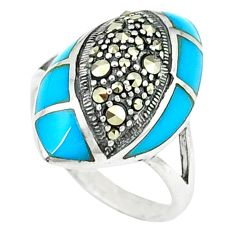 5.97cts blue sleeping beauty turquoise marcasite 925 silver ring size 7.5 c18745