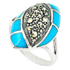 6.32cts blue sleeping beauty turquoise marcasite 925 silver ring size 6.5 c18755