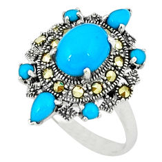 4.92cts blue sleeping beauty turquoise marcasite 925 silver ring size 7.5 c18531