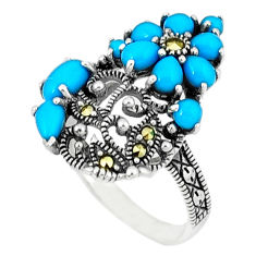3.16cts blue sleeping beauty turquoise marcasite 925 silver ring size 6.5 c18736