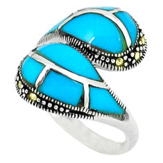 5.51cts blue sleeping beauty turquoise marcasite 925 silver ring size 7.5 c18676