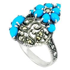 3.90cts blue sleeping beauty turquoise marcasite 925 silver ring size 6.5 c16402