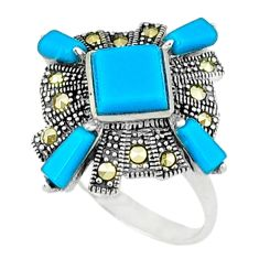 5.06cts blue sleeping beauty turquoise marcasite 925 silver ring size 7.5 c16380