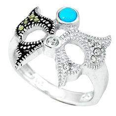 1.11cts blue sleeping beauty turquoise marcasite 925 silver ring size 6.5 c17621